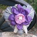 Akció! Szív Ajtódísz vintage, Dekoráció, Esküvő, Dísz, Virágkötés, Varrás, Hamvasított vesszőszív alapra lágy taftból készült virágot tettem. A lila-rózsaszín összeállítás mi..., Meska