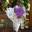 Akció! Fehér  Szív  Ajtódísz,vessző alapra, Dekoráció, Esküvő, Virágkötés, Varrás, Fehér vesszőszív alapra csipke és szatén rózsa,pici antikolt selyemvirággal készült.Hangulatos,roma..., Meska