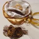 Fátyolos Fejdísz Rózsákkal, Esküvő, Ruha, divat, cipő, Hajdísz, ruhadísz, Hajbavaló, Virágkötés, Varrás, Elsősorban szőke hajú hölgynek tudom elképzelni az óarany-ekrü és barna színösszeállítást.A kerek v..., Meska