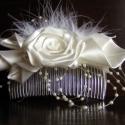 Menyasszonyi Hajfésű,Hajdísz Esküvőre, Esküvő, Esküvői ékszer, Hajdísz, ruhadísz, Menyasszonyi ruha, Varrás, Virágkötés, Szaténból rózsát,és saját kála technikával készült kála virágokat készítettem ehhez a hajdíszhez.A ..., Meska