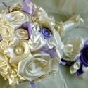 """Bieder Lavender Menyasszonyi csokor, Esküvő, Esküvői csokor, Hajdísz, ruhadísz, Esküvői dekoráció, Virágkötés, Varrás, Megrendelésre készült,""""levendula hangulatban"""" egy bieder csokor. Tömör,kerek bokréta szaténból és c..., Meska"""