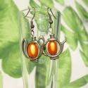 Csodalámpa fülbevaló, Ékszer, óra, Fülbevaló, Ékszerszett, Ékszerkészítés, Gyöngyfűzés, A fülbevalók sárgaréz alapra akasztott teáskannából készültek, melyekre narancssárga csodagyöngyöke..., Meska