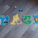 MÁTÉ - Bababetű, Baba-mama-gyerek, Dekoráció, Otthon, lakberendezés, Gyerekszoba, Mindenmás, Festészet, Dekorgumiból készűlt, akril festékkel díszítve.  Mérete 11 cm  Hátoldalán ragasztóval.  A név ára 8..., Meska