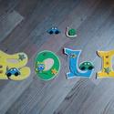ROLI - Bababetű, Baba-mama-gyerek, Dekoráció, Otthon, lakberendezés, Gyerekszoba, Mindenmás, Festészet, Dekorgumiból készűlt, akril festékkel, aranyos figurákkal díszítve.  Mérete 11 cm  Hátoldalán ragas..., Meska