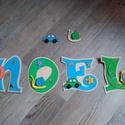 NOEL - Bababetű, Baba-mama-gyerek, Dekoráció, Otthon, lakberendezés, Gyerekszoba, Mindenmás, Festészet, Dekorgumiból készűlt, akril festékkel, aranyos figurákkal díszítve.  Mérete 11 cm  Hátoldalán ragas..., Meska