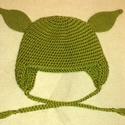 Yoda sapka kicsiknek nagyoknak , Baba-mama-gyerek, Ruha, divat, cipő, Kendő, sál, sapka, kesztyű, Sapka, Horgolás, Varrás, Yoda sapka kicsiknek nagyoknak  Bélés nélküli tavaszi/őszi sapka., Meska