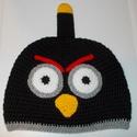 Angry Birds sapka fekete, Baba-mama-gyerek, Ruha, divat, cipő, Kendő, sál, sapka, kesztyű, Sapka, Horgolás, Angry Birds sapka fekete. Bélés nélküli tavaszi/őszi sapka. , Meska