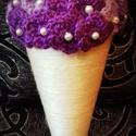 Horgolt virágcsokor (lila), Dekoráció, Mindenmás, Otthon, lakberendezés, Dísz, Horgolás, Horgolt virágcsokor-lila.  Mérete:  25*10 cm  Más színben is kérhető. Esküvői vagy ballagási csokor..., Meska
