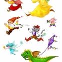 Mesefigurás futóverseny falmatrica, Dekoráció, Baba-mama-gyerek, Gyerekszoba, Falmatrica, Fotó, grafika, rajz, illusztráció, Színes, vidám, egyedi mesefigurás falmatricák gyerekszobába. Szabadon elrendezhetők bármilyen formá..., Meska