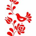 Madaras falmatrica, Dekoráció, Magyar motívumokkal, Falmatrica, Fotó, grafika, rajz, illusztráció, Kalocsai motívumok alapján rajzoltam ezt a mintát.   Mérete: 19x38,8cm  Budapesten személyes átvétel..., Meska