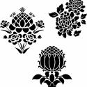Háromféle virágminta  falmatrica, Dekoráció, Otthon, lakberendezés, Falmatrica, Falikép, Fotó, grafika, rajz, illusztráció, Háromféle fiktív virágminta, melyeket külön-külön és együtt is fel lehet használni.   Méretek: 17x1..., Meska