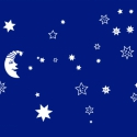 Csillagos égbolt falmatrica, Dekoráció, Falmatrica, Fotó, grafika, rajz, illusztráció, Vidám, fehér dekoráció gyerekszobába 1db sapkás holddal és 34 db csillaggal. Mindegyik szabadon var..., Meska