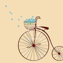 Velocipéd és nefelejcsek falmatrica, Dekoráció, Falmatrica, Fotó, grafika, rajz, illusztráció, Velocipéd egy kosárral, és benne kék nefelejcsekkel.   Természetbarát nőknek ajánlom!  A bringa mér..., Meska