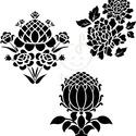 Háromféle virágminta  falmatrica, Dekoráció, Otthon, lakberendezés, Falmatrica, Falikép, Fotó, grafika, rajz, illusztráció, Háromféle barokkos stílusú virágminta.   Méretek: 17x18cm 15x16cm 15,6x17cm   , Meska