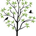 fa madarakkal  falmatrica, Dekoráció, Otthon, lakberendezés, Falmatrica, Falikép, Fotó, grafika, rajz, illusztráció, Zöld és fekete színű falmatrica három kismadárral.  Teljes mérete:78x118cm  Személyes átvételre Bud..., Meska