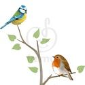 Színpompás madaras faág falmatrica, Dekoráció, Baba-mama-gyerek, Gyerekszoba, Falmatrica, Fotó, grafika, rajz, illusztráció, Színes madaras falmatrica gyerekszobába vagy bármely más helységbe. Ezek a madarak gyakori vendégek..., Meska
