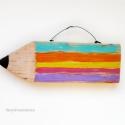 Színes ceruza, Baba-mama-gyerek, Dekoráció, Otthon, lakberendezés, Gyerekszoba, egyedi rusztikus fa dekoracio. kb. 21 x 7 cm + akaszto.  ajanlottan postazom., Meska