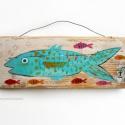 halak, Dekoráció, Otthon, lakberendezés, Dísz, Falikép, Famegmunkálás, Festett tárgyak, egyedi, rusztikus fa dekoracio. falra akaszthato  kb. 21 x 8 cm + akaszto  ajanlottan postazom., Meska