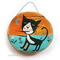 egy fajta macska AKCIOS!, Dekoráció, Otthon, lakberendezés, Dísz, Falikép, egyedi rusztikus fa dekoracio. falra akaszthato. kb. 14.5 cm + akaszto. kb. 2.5 cm vastag.  ajanlott..., Meska