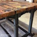 ipari stilusu loft asztal  AKCIOS!!!!, Bútor, Otthon, lakberendezés, Asztal,     195000 ft helyett!  Öntöttvas, ipari labakon allo, voros fenyo asztal, inyenceknek. (vizallo, bi..., Meska