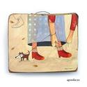 Őszi séta, Otthon, lakberendezés, Képzőművészet, Falikép, Festmény, egyedi rusztikus fa dekoracio. eredeti festmenyemmel. falra akaszthato. kb. 17x15 cm .   ajanlottan ..., Meska