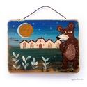 Ma a medve jött el , Dekoráció, Otthon, lakberendezés, Képzőművészet, Falikép, egyedi rusztikus fa dekoracio. falra akaszthato. kb. 15x11cm + akaszto. kb. 2cm vastag.  ajanlottan ..., Meska