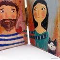 Tengerész szerelem, Dekoráció, Képzőművészet, Otthon, lakberendezés, Dísz,  Egyedi, kezzel festett rusztikus fa dekoracio. kb 24.5x19cm kinyitva. 2.5cm vastag. ajanlottan post..., Meska
