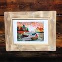 Kikötőben, Dekoráció, Otthon, lakberendezés, Kép, Falikép, Laczo Agnes illusztracioja rusztikus fa keretben.  Kis peldanyszamban keszult nyomat, alairassal. Ra..., Meska