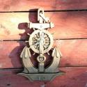 Faragott horgony alakú fali óra dió színben, Dekoráció, Otthon, lakberendezés, Falióra, Befoglaló mérete: ~30x21 cm A hajókormány küllői ill. fogantyúi adják az órák helyét. Most, díjmente..., Meska