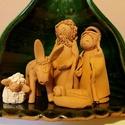 Betlehem figurákkal, Dekoráció, Karácsonyi, adventi apróságok, Ünnepi dekoráció, Karácsonyi dekoráció, Kerámia, Kézzel készített kerámia Betlehem és figurák. Szélesség: 13 cm Magasság: 12 cm, Meska