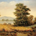 Balatonparti búzatábla c. olajfestmény, 70×50 cm, Képzőművészet , Dekoráció, Festmény, Olajfestmény, , Meska