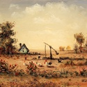 Alföldi tanya c. olajfestmény, 40x30 cm, Dekoráció, Képzőművészet , Festmény, Olajfestmény, , Meska