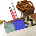 'Fedora' erszény/mobil/bármi tok fém zipzárral vászon + 100 % selyem, Táska, Pénztárca, tok, tárca, Varrás, Hímzés, Nomád  / etno hangulatú make-up bag / tárca/erszény / neszesszer / pénztárca, bármi-tok fém zipzárr..., Meska