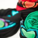 Fiorella sál- sapka/ kék zöld kör fűzöld-fekete, Ruha, divat, cipő, Kendő, sál, sapka, kesztyű, Sapka, Hajbavaló, Festészet, Varrás, Kézzel festett egyedi tervezésű sál, fiorella stílusban, a mindennapokra. Ha hideg van, kapucniszer..., Meska