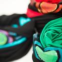 Fiorella sál- sapka/ kék zöld kör , Ruha, divat, cipő, Kendő, sál, sapka, kesztyű, Sapka, Hajbavaló, Festészet, Varrás, Kézzel festett egyedi tervezésű sál, fiorella stílusban, a mindennapokra. Ha hideg van, kapucniszer..., Meska