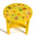 Sárga krizantémos  asztal, Bútor, Asztal, Famegmunkálás, Festett tárgyak, Fából készült kerek art deco asztal a harmincas évekből,szerkezetét felújítottuk,majd rengeteg orie..., Meska