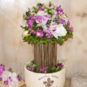 Virágfa asztalidísz, Esküvő, Esküvői dekoráció, Virágkötés, Ez az asztalidísz egy menyasszonyi szetthez készült.  Kerámia tálba rögzített ágak képezik a törzse..., Meska