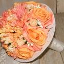 Barokk menyasszonyi vagy koszorúslány csokor, Esküvő, Esküvői csokor, Virágkötés, Még engem is becsapnának ezek a selyemvirágok, annyira élethűek. Pasztell narancssárga gerberából é..., Meska