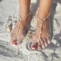 Bokalánc, Ékszer, óra, Ruha, divat, cipő, Bokalánc, Cipő, papucs, Ékszerkészítés, Gyöngyfűzés, Öltöztesd fel a lábad is a legújabb divat szerint! A mezítlábas szandállal csilloghatsz a strandon, ..., Meska