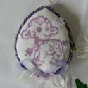 Keresztszemes textil tojás, Dekoráció, Ünnepi dekoráció, Húsvéti apróságok, Hímzés, Varrás, Húsvéti motívumot hímeztem a textiltojás elejére keresztszemes hímzés technikával. Tavaszi színekbe..., Meska
