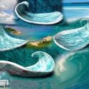 tengerkék hullám tál, Otthon, lakberendezés, Gyertya, mécses, gyertyatartó, Kaspó, virágtartó, váza, korsó, cserép, Kerámia, Ez a tál is a tengerkék kollekció darabja, talán a legszebb. Egyszerű,és ettől olyan nagyszerű. Ebb..., Meska