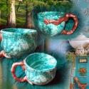 tengerkék+réz bögre, Konyhafelszerelés, Bögre, csésze, Kerámia, A tengerkék kollekció darabja, izgalmas párosítása a víz és fém színeinek. A tengerről nekem a vará..., Meska