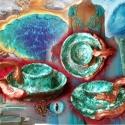 tengerkék+réz mécses, Otthon, lakberendezés, Gyertya, mécses, gyertyatartó, Kerámia, A tengerkék kollekció darabja.  A képeken árnyalat-különbségek lehetnek, de mindnek ugyanaz a színe..., Meska
