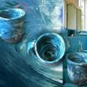 tengerkék fogkefetartópohár, Otthon, lakberendezés, Kerámia, A tengerkék újabb darabja: lyukas fenekű pohár a fogkefék és a fogkrém számára. Kb. 10 cm magas. A ..., Meska