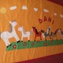 A ló éve -  rendelhető ágytakaró, Baba-mama-gyerek, Gyerekszoba, Falvédő, takaró, Patchwork, foltvarrás, Varrás, Megrendelésre készítettem ezt az ágytakarót.Anyaga napsárga pamutvászon, hátlapja és szegélye petty..., Meska