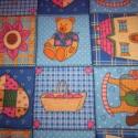 Pink szegélyű macis játszószőnyeg ajándék csörgős textil babakockával!, Baba-mama-gyerek, Játék, Gyerekszoba, Falvédő, takaró, Varrás,  AJÁNDÉKBA KAPSZ HOZZÁ EGY PATCHWORK MINTÁS BABAKOCKÁT!!!        100%-os pamutvászonból varrtam ezt..., Meska