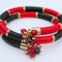 Twister szatén-selyem fonal karkötő piros-fekete-arany, Ékszer, óra, Karkötő, , Meska