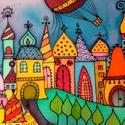 Mesevároska, Baba-mama-gyerek, Dekoráció, Gyerekszoba, Baba falikép, Selyemfestés, 30x30 cm-es selyemkép a szivárvány minden színében. Harmónikus színeivel mesebeli formáival kedves ..., Meska