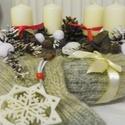 Adventi koszorú,asztaldísz,, Dekoráció, Otthon, lakberendezés, Karácsonyi, adventi apróságok, Karácsonyi dekoráció, Virágkötés, Mindenmás, Meleg,pihe-puha  asztaldíszt készítettem,vintage stilusban. méret:26cm, Meska