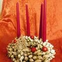 Fehér karácsony-vintage asztaldísz, adventi koszorú, Dekoráció, Otthon, lakberendezés, Karácsonyi, adventi apróságok, Karácsonyi dekoráció, Virágkötés, Mindenmás, Vintage stilusban  egyedi,tartós adventi asztaldíszt készítettem. méret 25cm, Meska